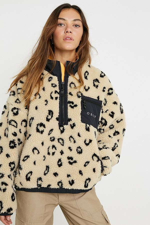 OBEY Chiller Leopard Print Teddy Fleece Pullover Jacket | Urban Outfitters UK