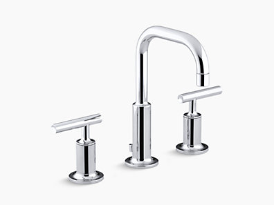 purist widespread lavatory faucet with low gooseneck spout low lever