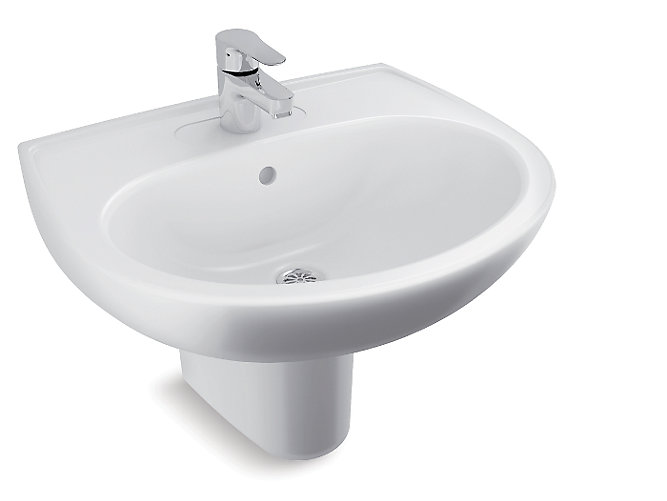 Brive Half Pedestal Lavatory With Single Faucet Hole K 96051in Kohler