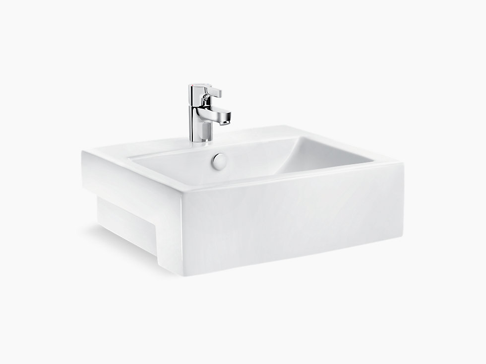 Milano Semi Recessed Lavatory With Single Faucet Hole K 18072k 1 Kohler