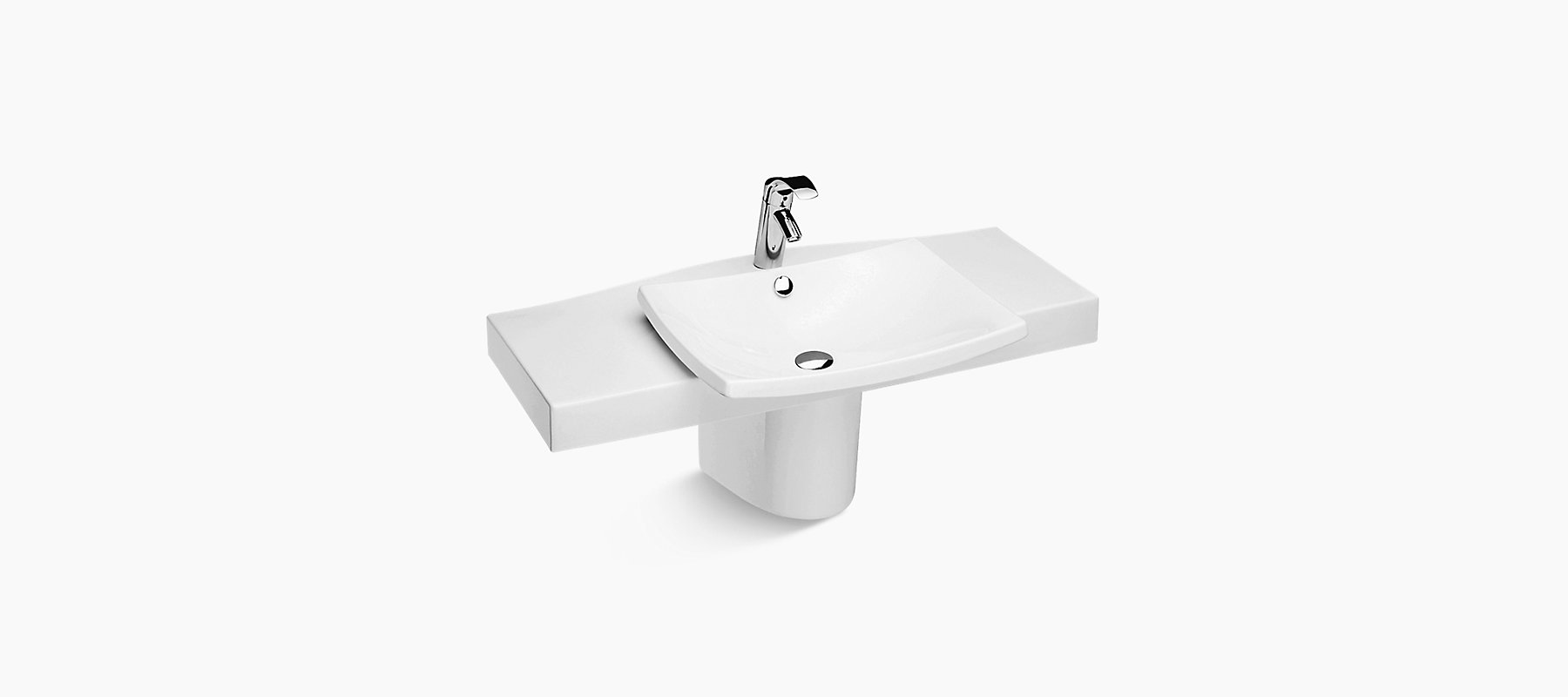 Escale Half Pedestal Lavatory With Single Faucet Hole K 19797w Kohler