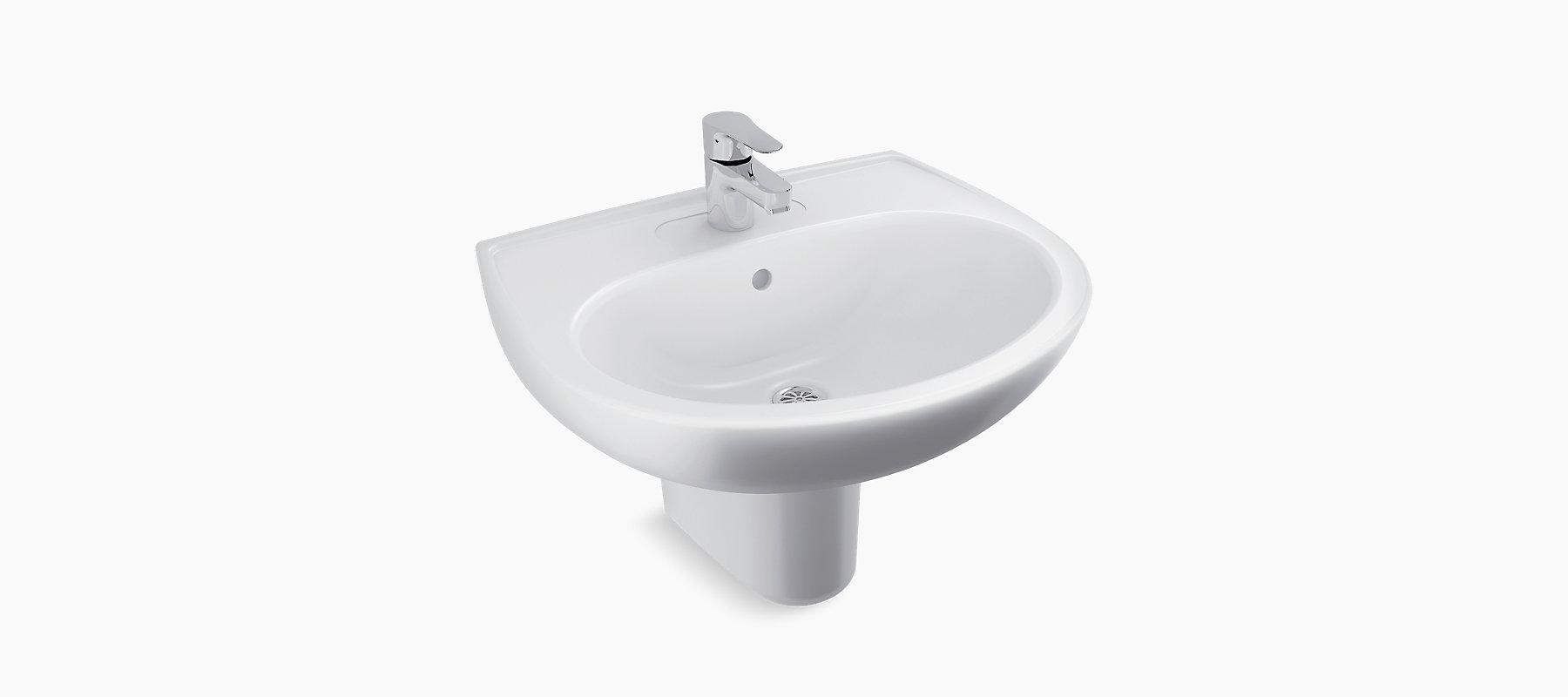 Brive Half Pedestal Lavatory With Single Faucet Hole K 96050in Kohler