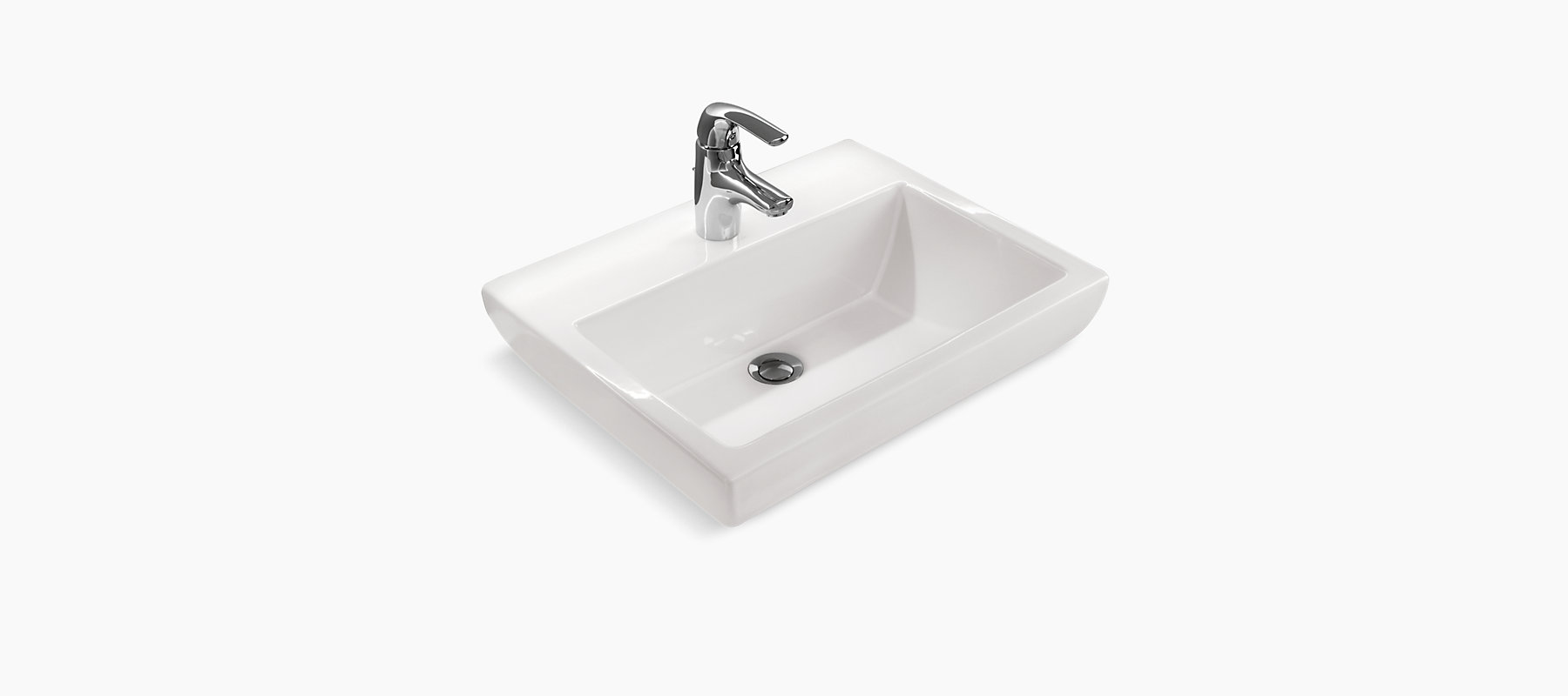 Parliament Semi Recessed Lavatory With Single Faucet Hole