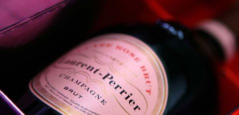 A bottle of Laurent-Perrier Pink Champagne