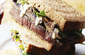 Roast beef sandwich with Fireflower shiraz