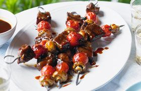 marinated beef skewers with WR Brazilian Merlot