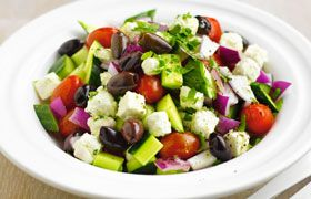 Greek salad with Twin Sails Xynomavro Greek Rose