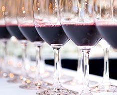 Glasses of red wine to be judged