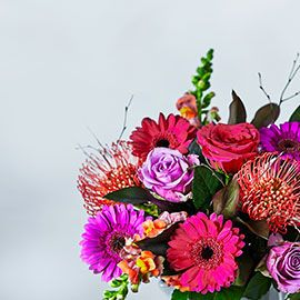 Bouquets in bright berry shades