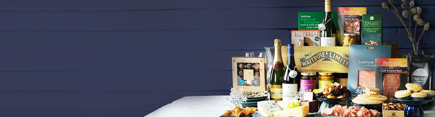 A table bedecked with a selection of waitrose gifts