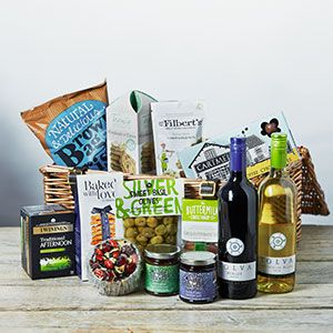 A hamper loaded with food and drink