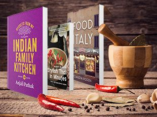 Some world food cookbooks and pestel and moater