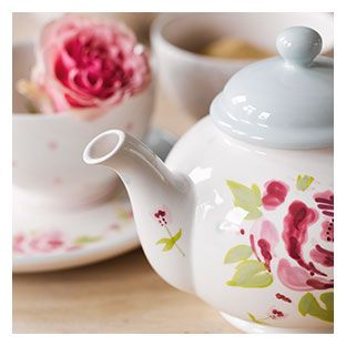 A flowered teapot