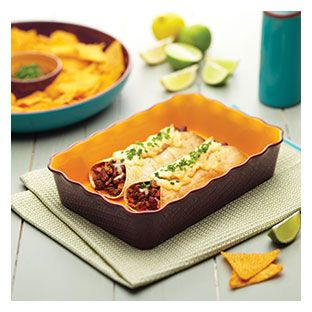Enchiladas in a meixcan serving dish