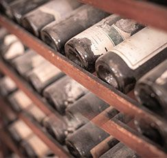 Fine wines stored in racks