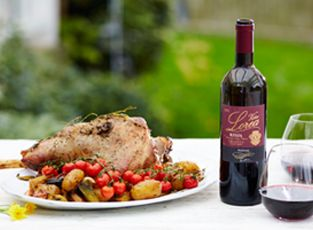 Roast Lamb paired with a luscious red