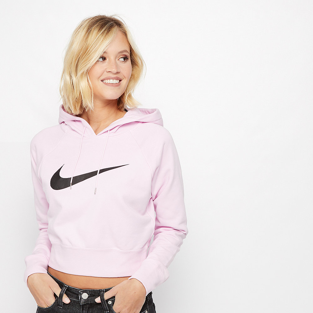 NIKE NSW Swoosh Hoodie Crop pink foam/black