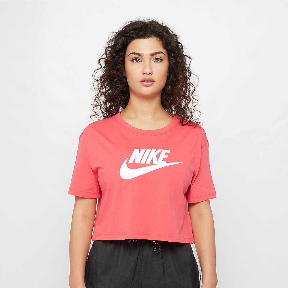 NIKE NSW Tee Essential Crop Icon Futura ember glow/white