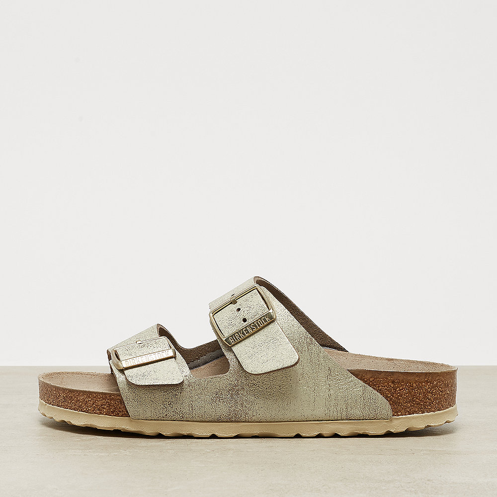 Birkenstock Arizona washed metallic cream gold