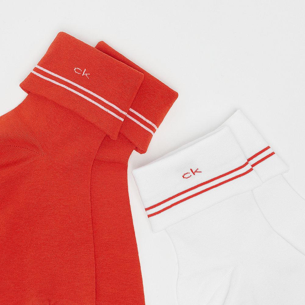 Calvin Klein 2 Pr Stripe Turn cuff white red
