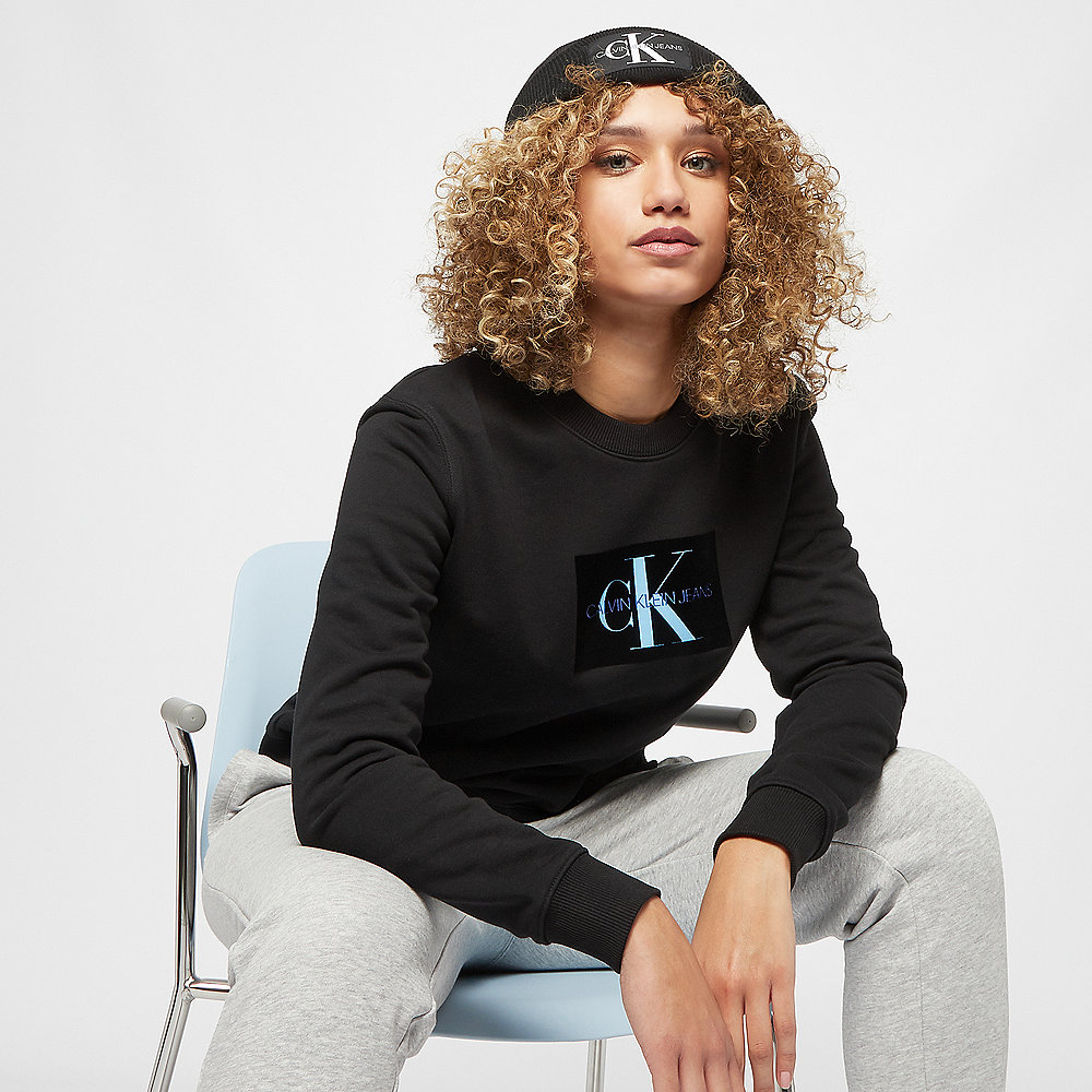 Calvin Klein Monogram Flock Box Logo Sweatshirt CN black