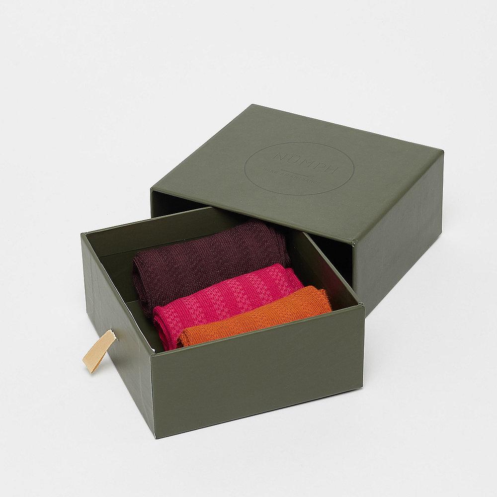 Nümph Hilma 3-Pack Socks multicolor bordeaux,curry,pink