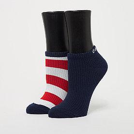 Calvin Klein 2 pr Bold Stripe liner pack white/blue/red striped