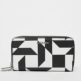 Calvin Klein Must LRG Double Zip Purse quilt print bw