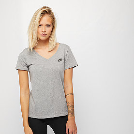 NIKE NSW T-Shirt V-Neck dk grey heather/black