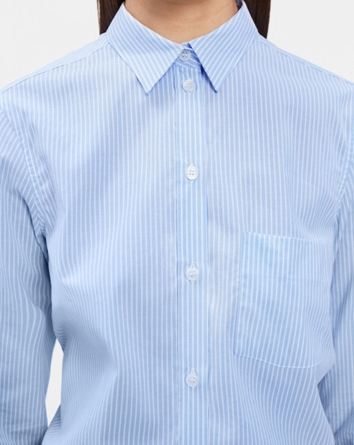 Classic Stretch Shirt Lt Blue Stripes