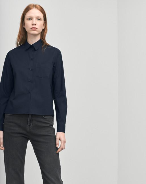 Short Cotton Shirt Navy