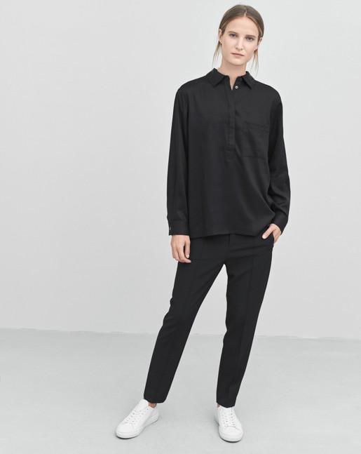 Tencel Pull On Blouse Black