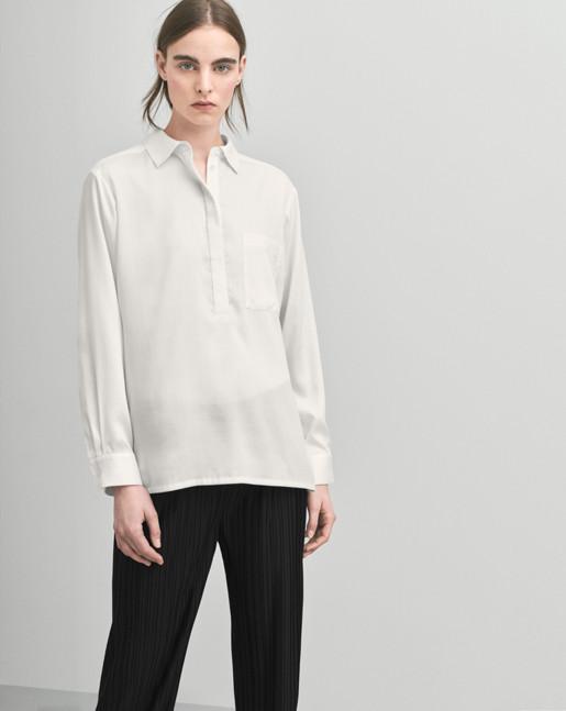 Tencel Pull On Blouse White