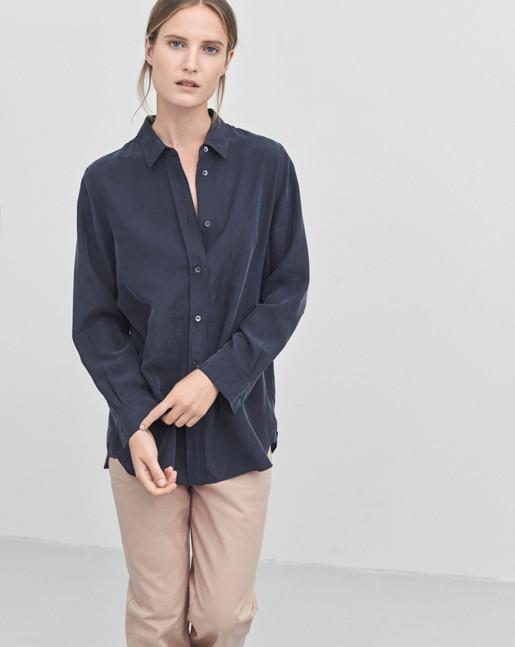 Silk Shirt Navy