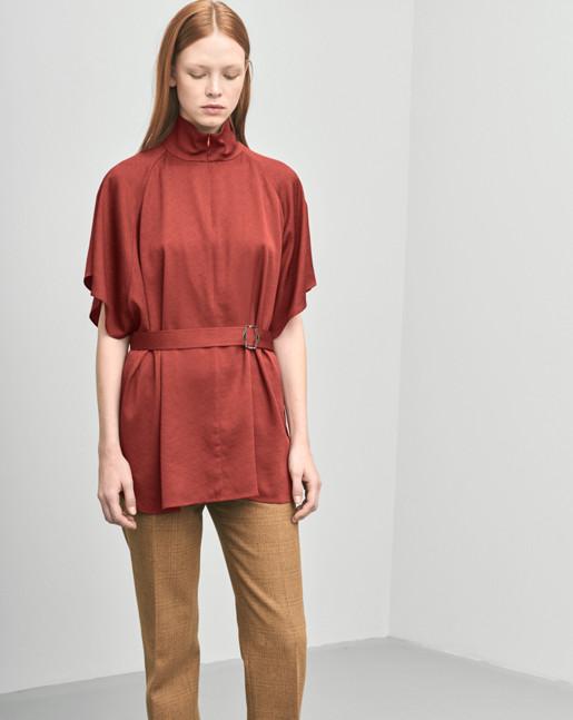 Zip Collar Belt Top Red Rust