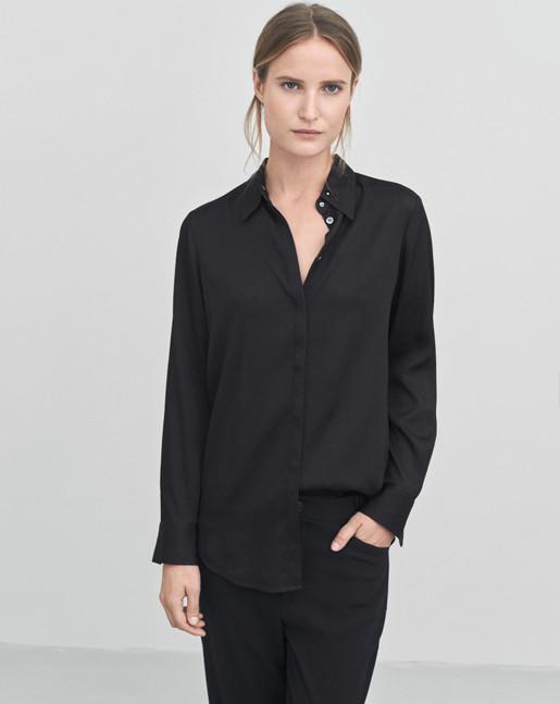 Silk Stud Shirt Black