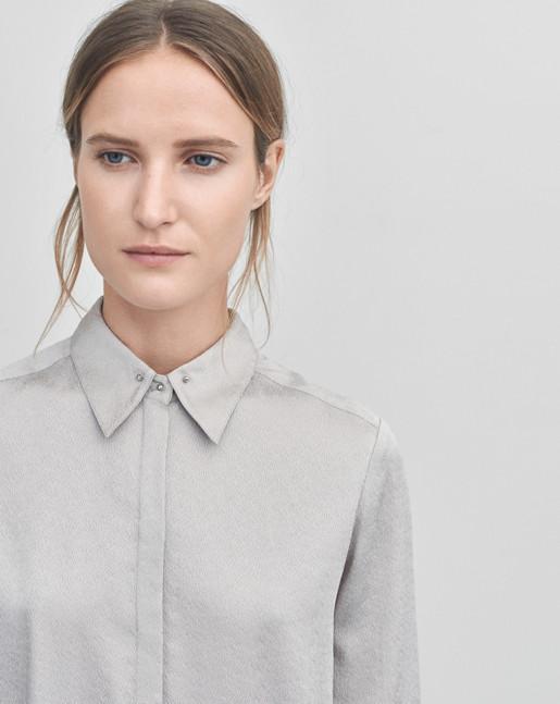 Silk Stud Shirt Dove