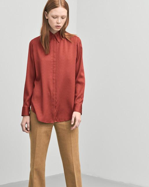 Silk Stud Shirt Red Rust