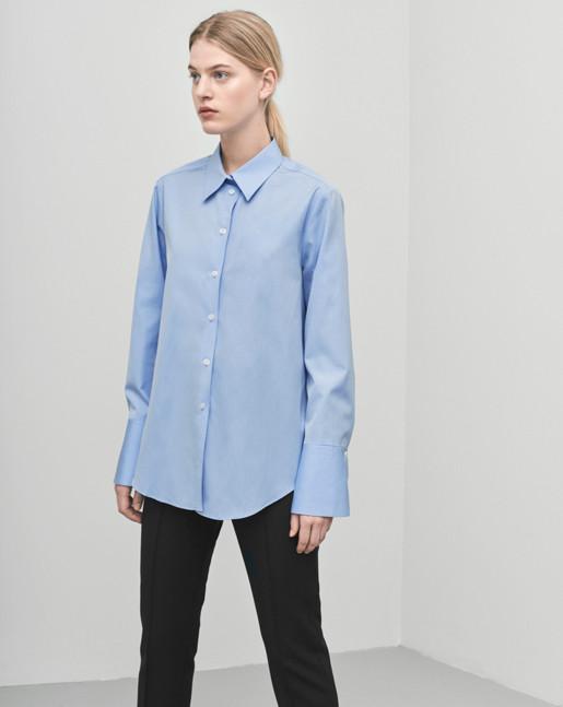 Sharp Cotton Shirt Airblue