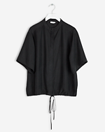 Drawstring Silk Shirt Black