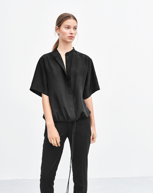 Drawstring Silk Shirt Black