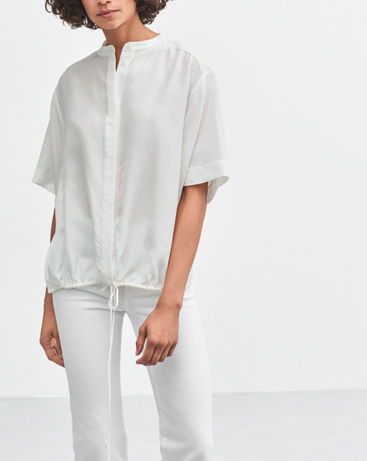 Drawstring Silk Shirt Off White