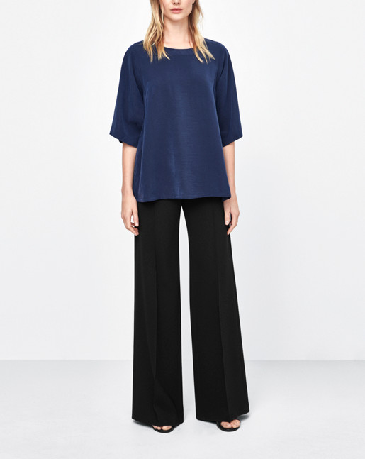 Drawstring Volume Blouse Navy