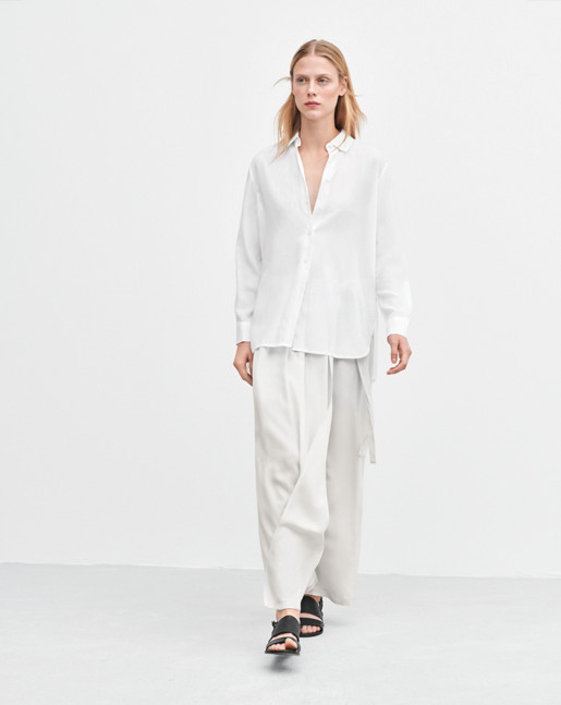 High-low Tencel Shirt White