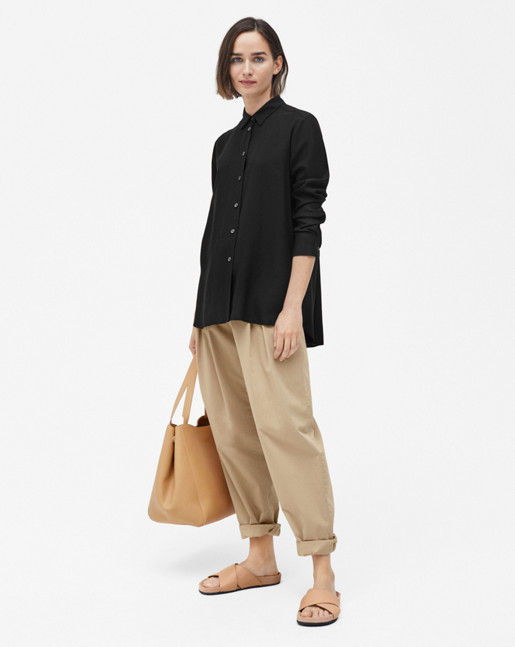 High-low Tencel Shirt Black