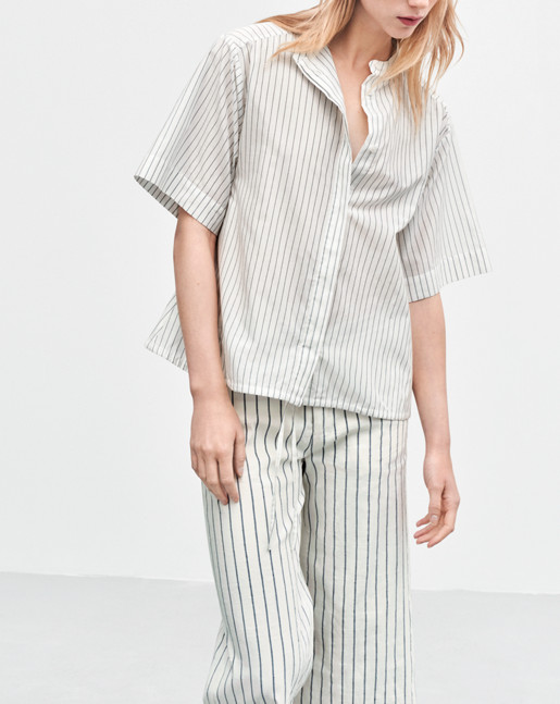 Drawstring Stripe Shirt