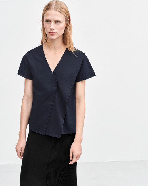 Layered V-neck Top Navy