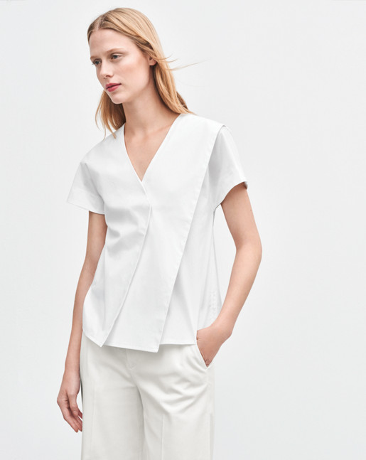 Layered V-neck Top White