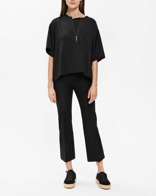 Paige square draped shirt Black
