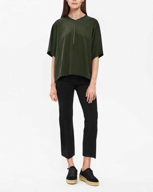 Paige square draped shirt Dark Olive